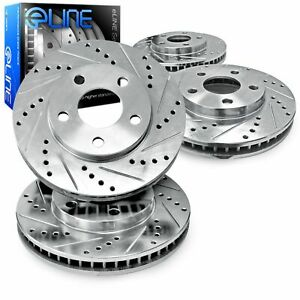 For 2011 2014 Ford Mustang R1 Concepts Front Rear Drill slot Brake Rotors