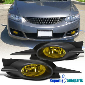 For 2009 2011 Honda Civic 2dr Coupe Fog Lights Bumper Lamps Pair switch bulbs