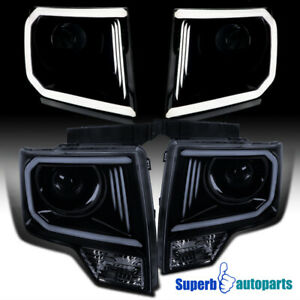 For 2009 2014 Ford F150 Led Drl Projector Headlights Glossy Black Smoke