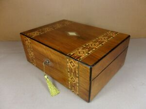 Antique Victorian Parquetry Walnut Jewellery Sewing Box C1860 1880 Code 549