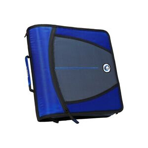 Case it Dual Ring Zipper Binder D ring 3 Inches Blue