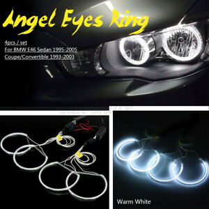 4 X Ccfl Angel Eye Halo Led Ring Light White Non projector For Bmw E46 3