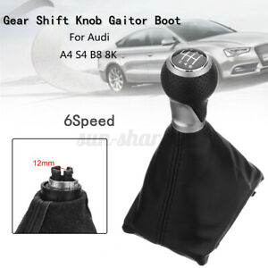 6 Speed Manual Gear Shift Knob Gaiter Boot Leather For Audi A4 S4 8k A5
