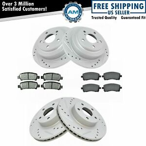 Front Rear Metallic Brake Pad Performance Drilled Slotted Rotor