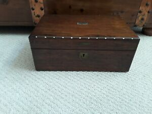 Antique Victorian 1800 S Lap Desk Writing Box With Mother Of Pearl Inlay