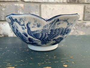 Action Made In Japan Blue White Bowl With Scallop Edges Peacock Design