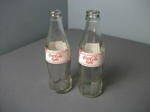 2 Coca Cola Light Bottles Glass w/ Red & White Lettering - Foreign Language f sb