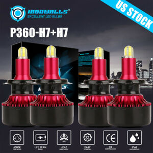 4 Sides H7 H7 Car Led High Low Beam Bulb Headlight Kit Halogen Replacement 6000k