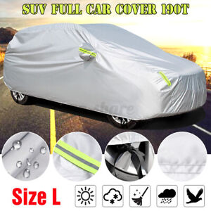 L Suv Car Cover Waterproof Dust Uv Sun Protection Outdoor W Reflective Strips