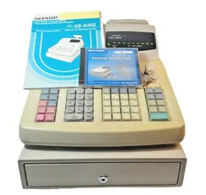 Sharp Xe a 202 Electronic Cash Register With Keys Manual White