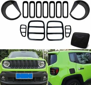 14 Pcs Tail Light Covers Front Mesh Grille Grill Inserts For Jeep Renegade