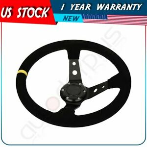350mm Deep Dish 6 Bolt Suede Leather Jdm Sport Racing Drifting Steering Wheel