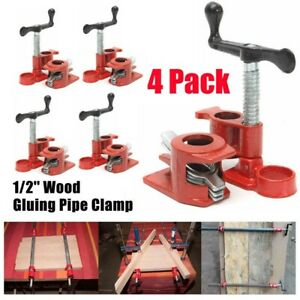 4 Pack 1 2 Wood Gluing Pipe Clamp Set Heavy Duty Pro Woodworking Cast Iron Tool