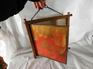 Antique Oriental Asian Old Folding Wall Mirror Bamboo Vintage Japanese Art Deco