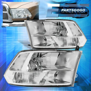 For 09 18 Ram 1500 2500 3500 Replacement Quad Headlights Lamps Pair Chrome Clear