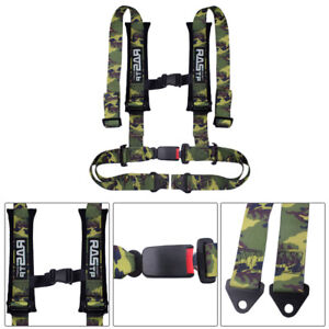 Racing Style 4 Point 2 Bolt Down Safety Seat Belt Harness Universal Camouflage