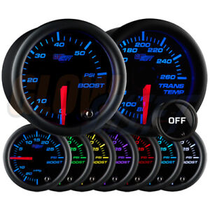 Glowshift 52mm Tinted 7 Color 60psi Boost Transmission Temperature Gauge Set