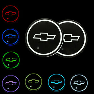 2pcs Switchable Seven Colorful Led Car Cup Holder Mat Coaster Pad For Chevrolet
