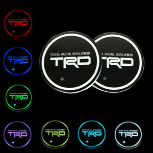 2pcs Trd Switchable Seven Colorful Led Car Cup Holder Mat Coaster Pad For Toyota