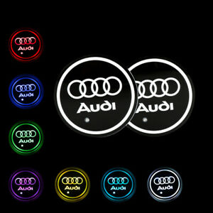 2pcs Switchable Seven Colorful Led Car Cup Holder Mat Coaster Pad For Audi