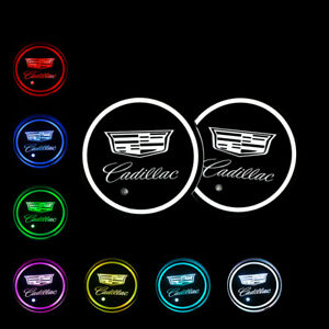 2pcs Switchable Seven Colorful Led Car Cup Holder Mat Coaster Pad For Cadillac