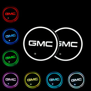 2pcs Switchable Seven Colorful Led Car Cup Holder Mat Coaster Pad For Gmc