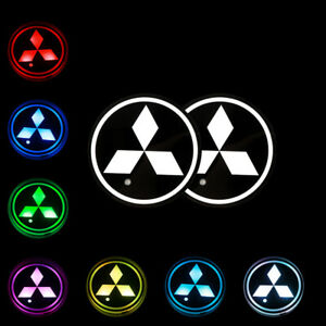 2pcs Switchable Seven Colorful Led Car Cup Holder Mat Coaster Pad For Mitsubishi