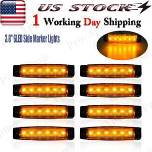 8x Amber Led Side Marker Lights 12v 3 8 Truck Trailer Clearance Light Usa