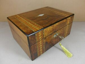 Antique Victorian Parquetry Walnut Jewellery Sewing Box C1860 1880 Code 550
