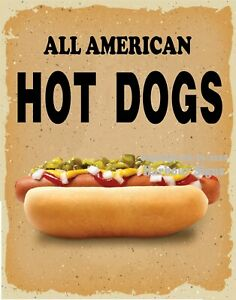 All American Hot Dogs Decal choose Your Size V Food Truck Concession Sticker