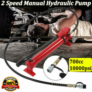 700cc Manual Hand Hydraulic Power Pack Pump High Pressure 2 Stage 10 000 Psi