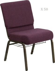 50x Plum 21 Wide Stack Church Chairs Gold Frame Book Rack 4 Seat 800 Lb Wt