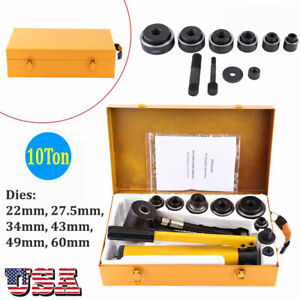 10 Ton Hydraulic Knockout Punch Driver Kit 6 Dies 22 To 60mm Hole Punch Tools