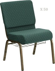 50x Green Dot Pattern 21 Wide Stack Church Chairs Gold Frame Book Rack 4 Seat
