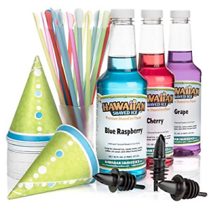 Hawaiian Shaved Ice Syrup 3 Pack With Accessories Flavors Snow Cone Straws