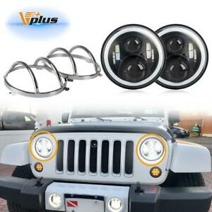 7 Full Halo Angel Eyes Led Projector Cree Headlights 3157 Chrome Cover For Jeep