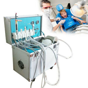 Dental Portable Delivery Unit Rolling Case With Air Compressor Pump 2 Hole 580w