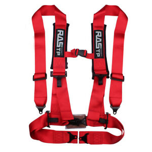 Fast Ship Racing Style 4 Point 3 Bolt Down Safety Seat Belt Harness Red