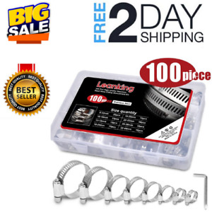 100x Stainless Steel Hose Clamp Set Adjustable Worm Gear Assortment Drive Clamps