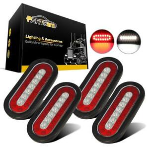 4x 6 Red white 23 Led Truck Trailer Rubber Mount Stop Turn Tail Reverse Lights