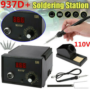 Soldering Station Heater Iron Welding Solder Smd Tool 5 Tips Stand Esd 937d Us