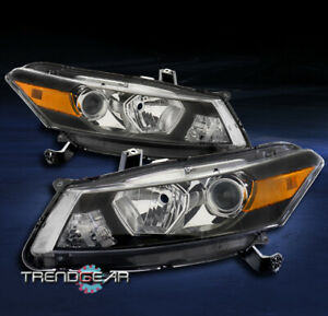 For 2008 2009 2010 2011 2012 Honda Accord Coupe Projector Headlights Lamps Black