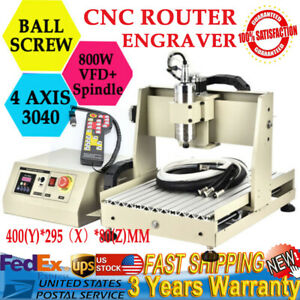 4 Axis 3040 Cnc Vfd Router Engraver 800w Drilling Machine Woodworking Remote Us