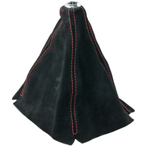 Shift Knob Boot Cover Mt At W Black Suede Leather Red Stitches For Corolla