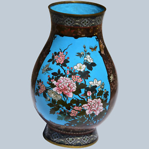 Large Antique Meiji Period Cloisonne Vase Tigers Leopards Flowers