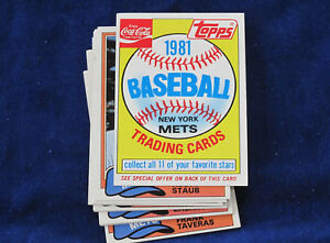 1981 Topps Coca Cola New York Mets lot of 18 eleven card sets E1634
