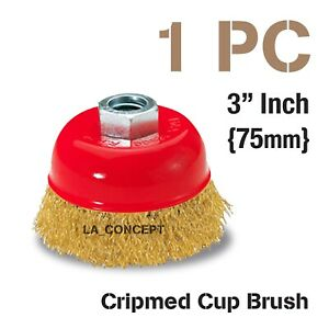 Thread Wire Cup Brush Wheel 3 X 5 8 For 4 1 2 Angle Grinder Crimped Cup Wire