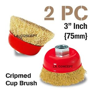 2 Pc Thread Cup Wire Brush Wheel 3 X 5 8 For 4 1 2 Angle Grinder Crimped Cup