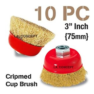 10 Pc Thread Wire Cup Brush Wheel 3 X 5 8 For 4 1 2 Angle Grinder Crimped Cup