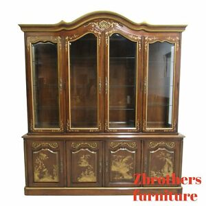 White Furniture Co Asian Inspired Breakfront China Cabinet Hutch Display